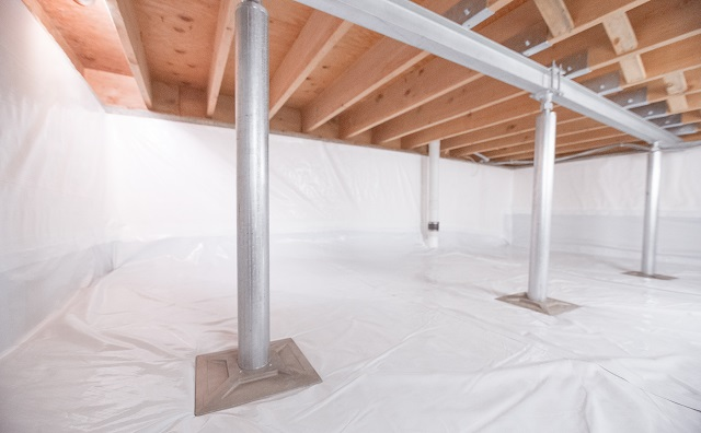 Crawl space support jack installation