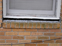 A window sill cracking and separating from the foundation wall in a Orillia home.