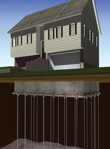 A graphic diagram of foundation piers installed along a foundation.