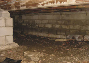 Rotting, decaying crawl space wood damaged over time in Woodbridge