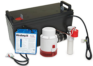 a battery backup sump pump system in Caledon