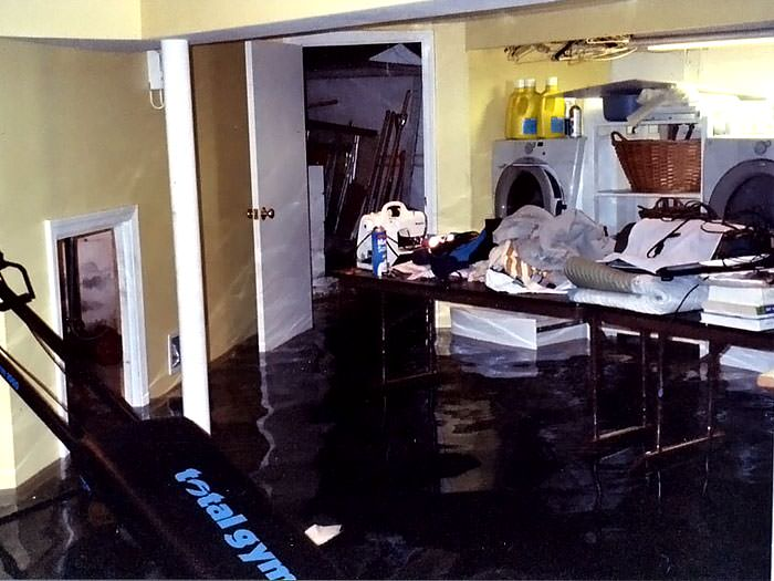 room flood in pickering with several feet of water flooded in