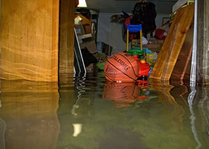 A flooded basement bedroom in Bridgnorth